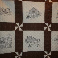 Embroidered Barns Quilt