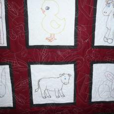 Embroidered Farm Animals Quilt