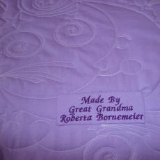 Roberta's Quilt for a new Great Granddaughter backing