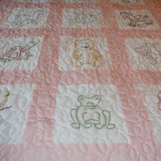 Rose Mary's Pink Embroidery Crib Quilt