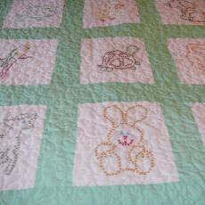 Rose Mary's Green Embroidery Crib Quilt