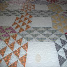 Vintage Quilt quilted with Feathers